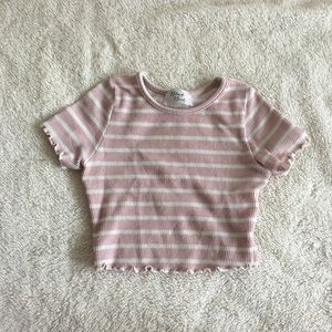 Pink and white striped cropped tee shirt